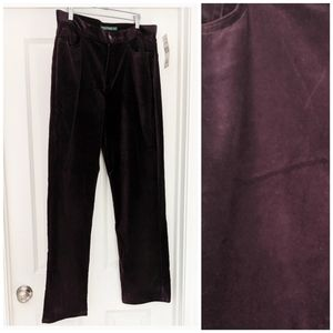 Lauren Ralph Lauren Purple Velvet Straight Pants